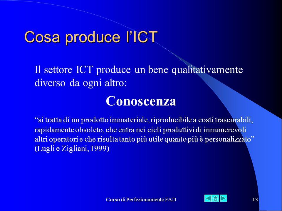 Corso di Perfezionamento FAD13 Cosa produce l'ICT Il settore ICT produce un bene qualitativamente diverso da ogni altro: Conoscenza si tratta di un prodotto immateriale, riproducibile a costi trascurabili, rapidamente obsoleto, che entra nei cicli produttivi di innumerevoli altri operatori e che risulta tanto più utile quanto più è personalizzato (Lugli e Zigliani, 1999)