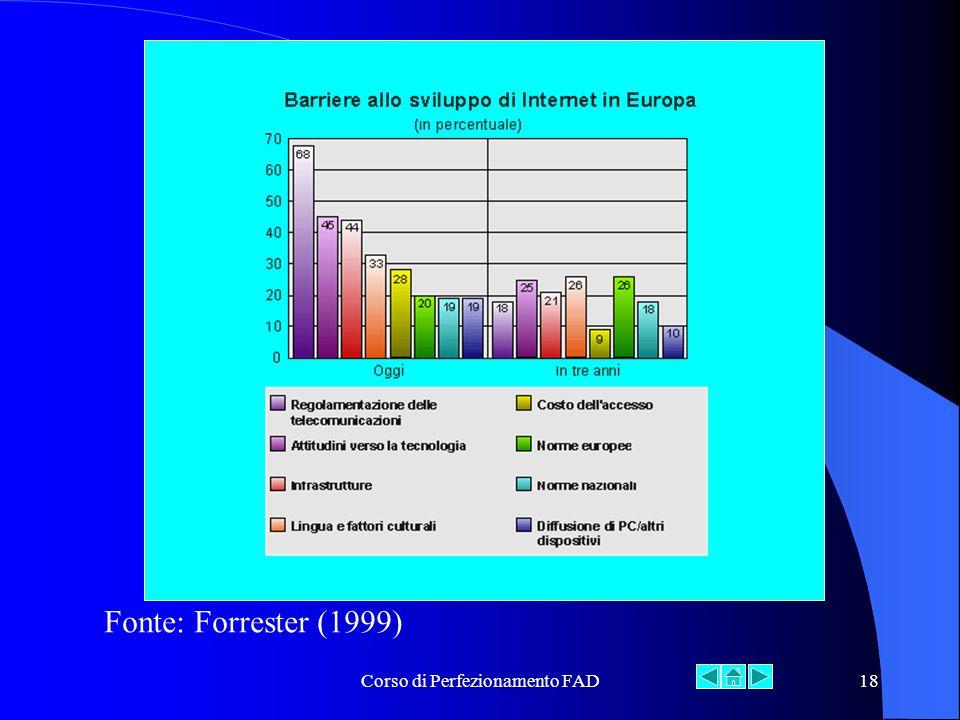 Corso di Perfezionamento FAD18 Fonte: Forrester (1999)