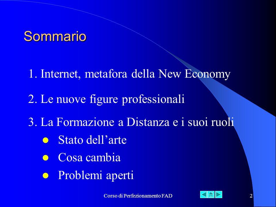 Corso di Perfezionamento FAD2 Sommario 1. Internet, metafora della New Economy 3.