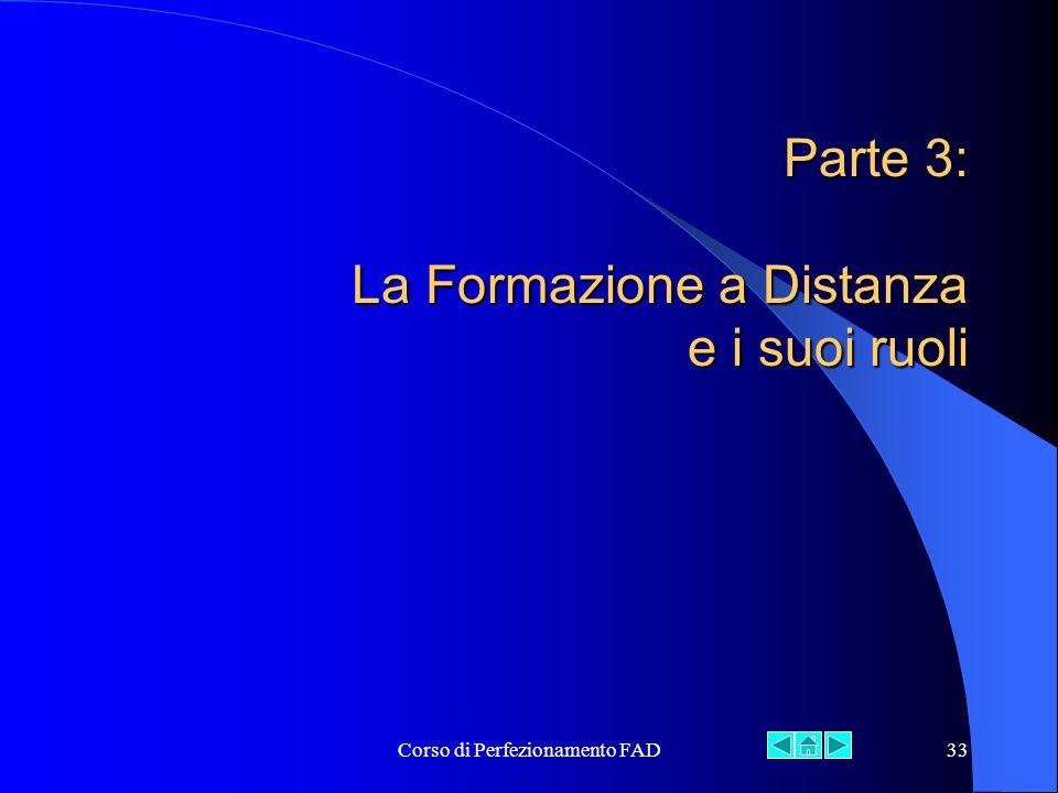 Corso di Perfezionamento FAD33 Parte 3: La Formazione a Distanza e i suoi ruoli