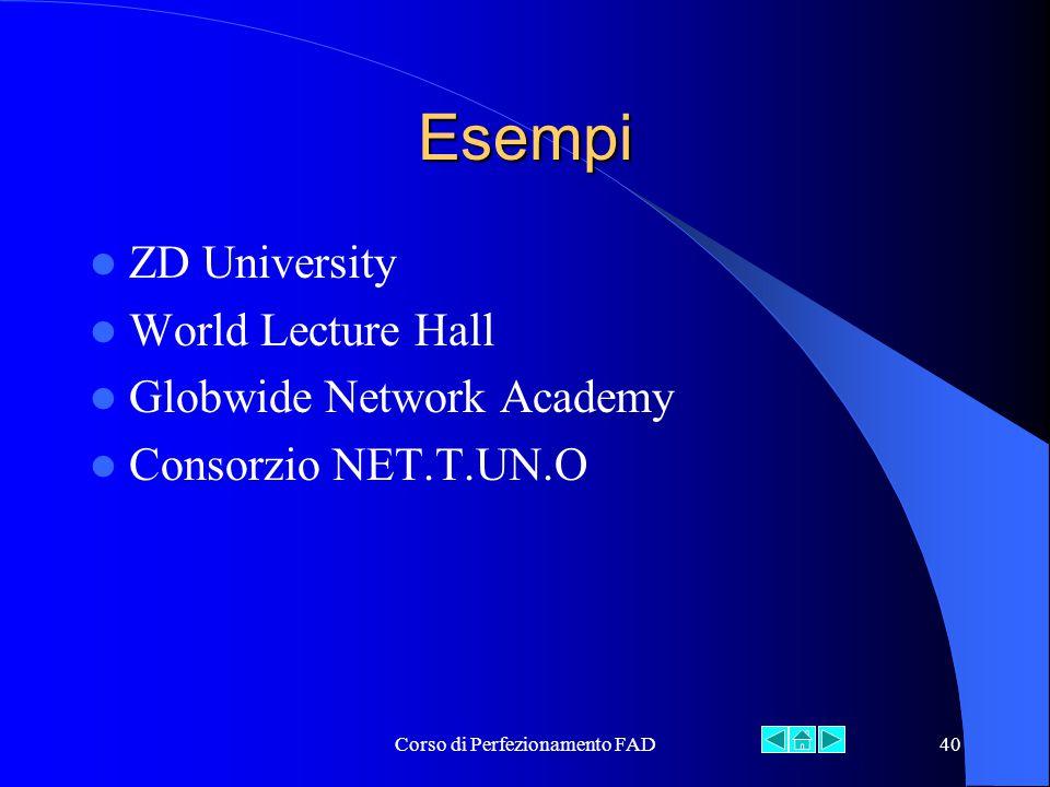 Corso di Perfezionamento FAD40 Esempi ZD University World Lecture Hall Globwide Network Academy Consorzio NET.T.UN.O