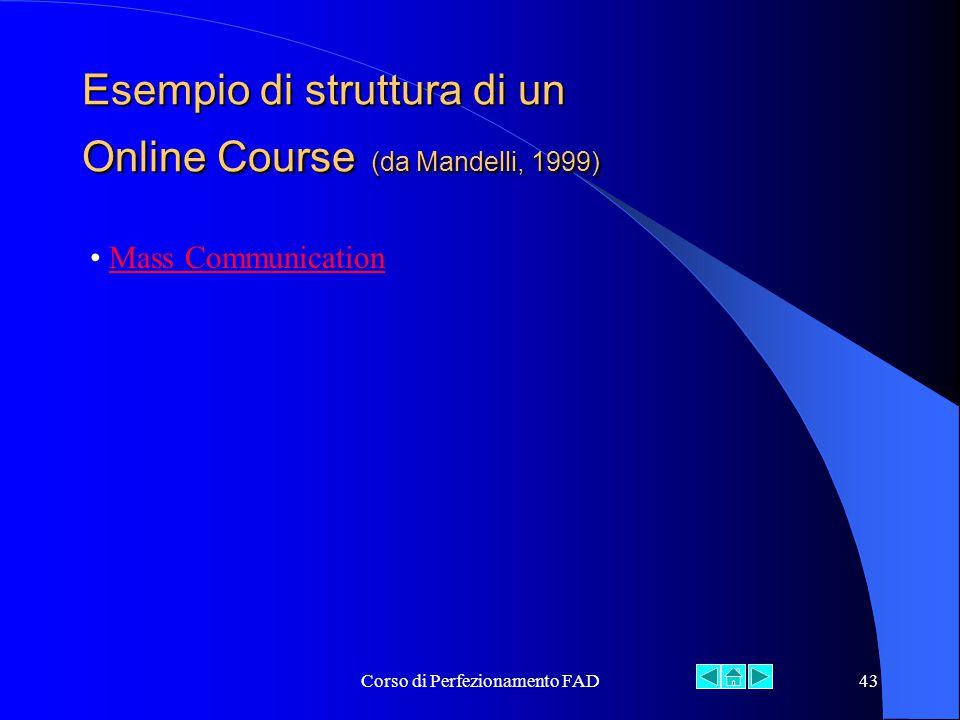 Corso di Perfezionamento FAD43 Esempio di struttura di un Online Course (da Mandelli, 1999) Mass Communication
