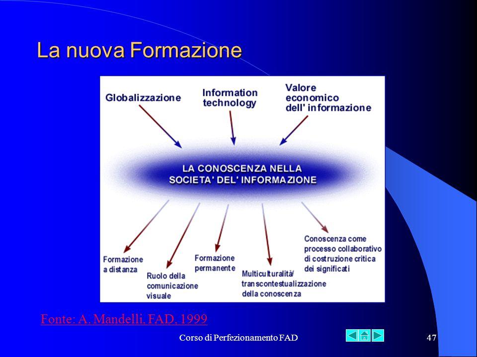 Corso di Perfezionamento FAD47 La nuova Formazione Fonte: A. Mandelli, FAD, 1999