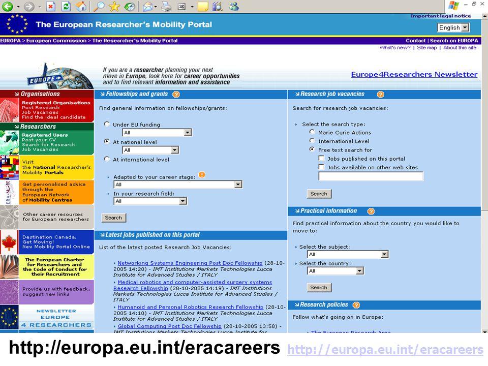 16 http://europa.eu.int/eracareers