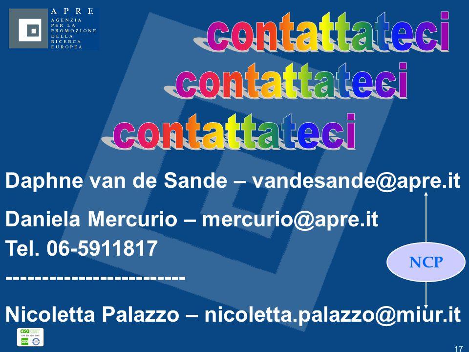 17 Daphne van de Sande – vandesande@apre.it Daniela Mercurio – mercurio@apre.it Tel. 06-5911817 ------------------------- Nicoletta Palazzo – nicolett