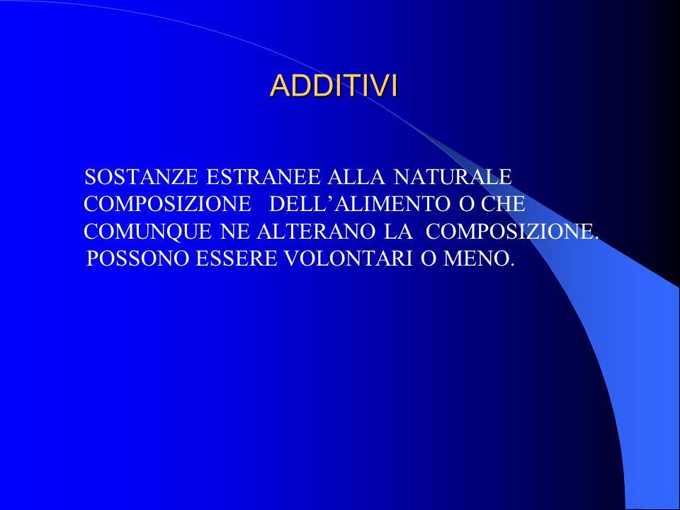 ADDITIVI SOSTANZE ESTRANEE ALLA NATURALE COMPOSIZIONE DELL'ALIMENTO O CHE COMUNQUE NE ALTERANO LA COMPOSIZIONE.