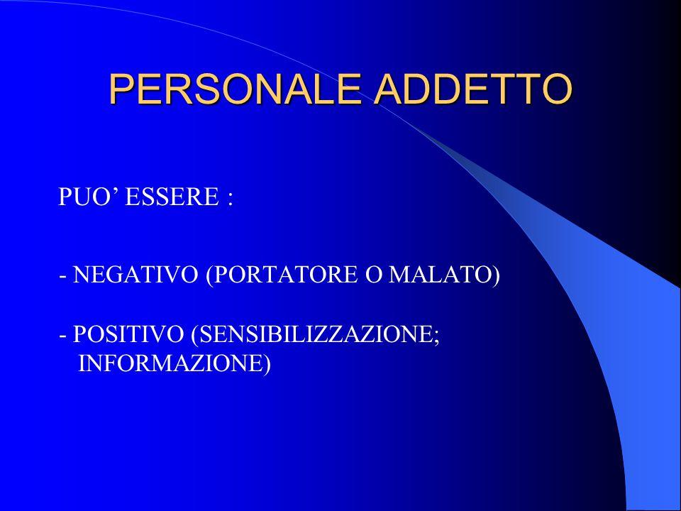 PERSONALE ADDETTO - NEGATIVO (PORTATORE O MALATO) - POSITIVO (SENSIBILIZZAZIONE; INFORMAZIONE) PUO' ESSERE :