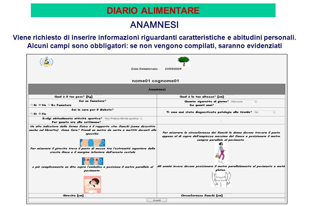 METABOLISMO Il sistema, in base agli indici antropometrici calcola BMI, Metabolismo Basale e Totale.