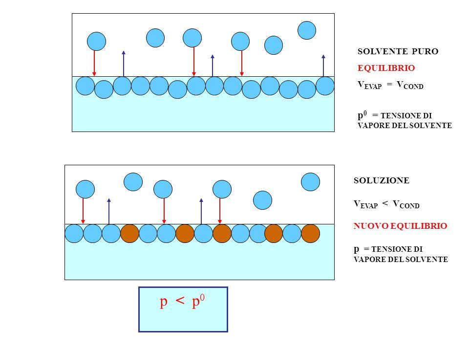 SOLVENTE PURO EQUILIBRIO V EVAP = V COND p 0 = TENSIONE DI VAPORE DEL SOLVENTE SOLUZIONE V EVAP < V COND NUOVO EQUILIBRIO p = TENSIONE DI VAPORE DEL SOLVENTE p < p 0