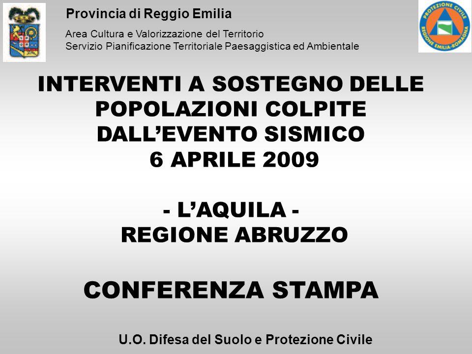 Area Cultura e Valorizzazione del Territorio Servizio Pianificazione Territoriale Paesaggistica ed Ambientale Provincia di Reggio Emilia INTERVENTI A