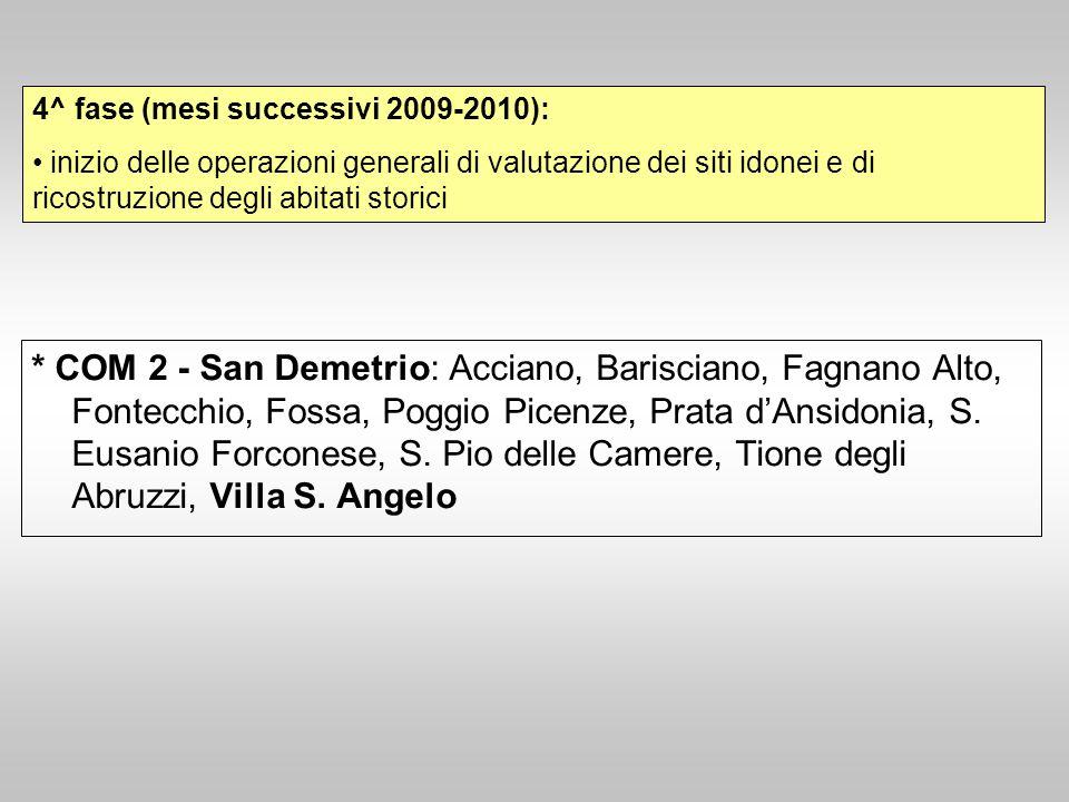 * COM 2 - San Demetrio: Acciano, Barisciano, Fagnano Alto, Fontecchio, Fossa, Poggio Picenze, Prata d'Ansidonia, S. Eusanio Forconese, S. Pio delle Ca