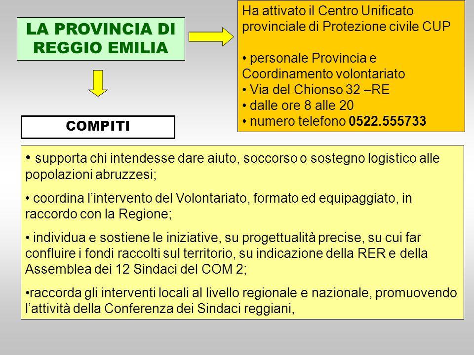 LA PROVINCIA DI REGGIO EMILIA Ha attivato il Centro Unificato provinciale di Protezione civile CUP personale Provincia e Coordinamento volontariato Vi