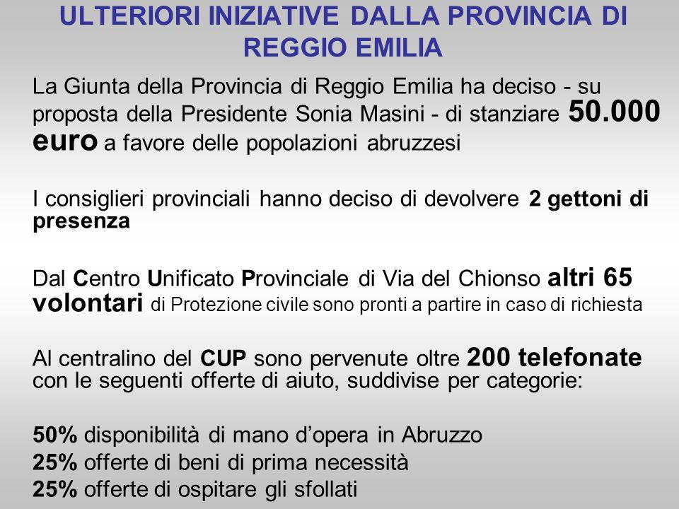 La Giunta della Provincia di Reggio Emilia ha deciso - su proposta della Presidente Sonia Masini - di stanziare 50.000 euro a favore delle popolazioni