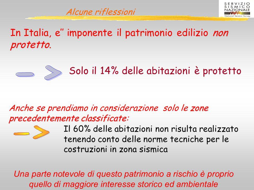 Alcune riflessioni non protetto. In Italia, e'' imponente il patrimonio edilizio non protetto. Solo il 14% delle abitazioni è protetto zone precedente