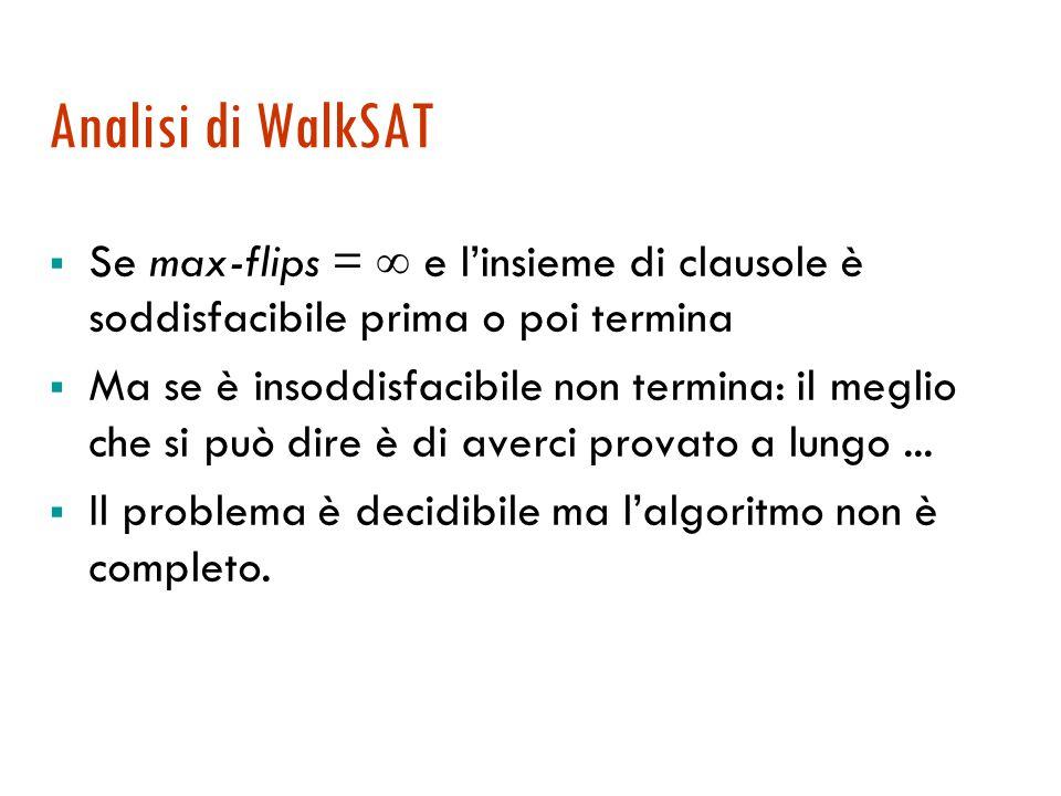 WalkSAT: un esempio {  B 1,1, P 1,2, P 2,1 } {  P 1,2, B 1,1 } {  P 2,1, B 1,1 } {  B 1,1 } [B 1,1 =F, P 1,2 =T, P 2,1 =T] 2, 3 F; scelgo 2; a caso:flip B 1,1 [B 1,1 =T, P 1,2 =T, P 2,1 =T] 4 F; scelgo 4; flip B 1,1 [B 1,1 =F, P 1,2 =T, P 2,1 =T] 2, 3 F; scelgo 2; a caso:flip P 1,2 [B 1,1 =F, P 1,2 =F, P 2,1 =T] 3, 4 F; scelgo 3; ottimizzazione: flip P 2,1 [0]; flip B 1,1 [1] [B 1,1 =F, P 1,2 =F, P 2,1 =F] modello Rosso: passo casuale Verde: passo di ottimizzazione