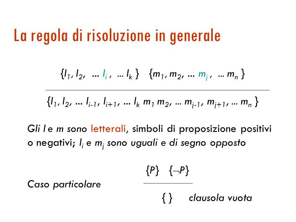 Regola di risoluzione: caso proposizionale {P, Q}{  P, R}P  Q,  P  R {Q, R} Q  R  E se avessimo un'unica regola di inferenza (senza rinunciare alla completezza).
