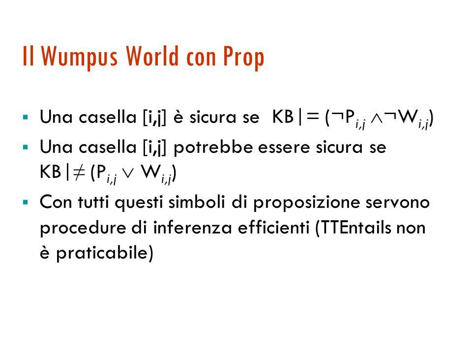 Il Wumpus World: locazione e orientamento  Se si vuole tenere traccia della locazione  L 1,1  FacingRight  Forward  L 2,1 Non va bene serve una dimensione temporale  L 1 1,1  FacingRight 1  Forward 1  L 2 2,1  Stessa cosa per l'orientamento …  FacingRight 1  TurnLeft 1  FacingUp 2  Proliferazione di simboli, serve un linguaggio più espressivo!!
