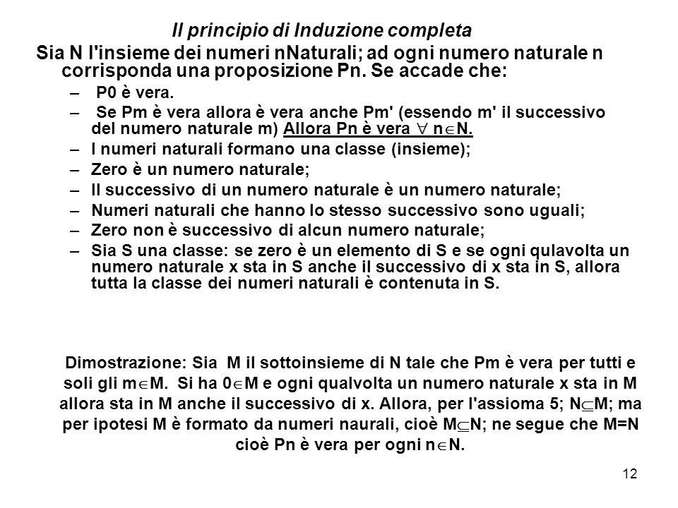 12 Dimostrazione: Sia M il sottoinsieme di N tale che Pm è vera per tutti e soli gli m  M.