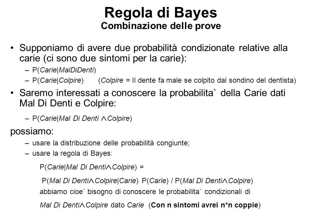 Regola di Bayes Combinazione delle prove Supponiamo di avere due probabilità condizionate relative alla carie (ci sono due sintomi per la carie): –P(Carie|MalDiDenti) –P(Carie|Colpire)(Colpire = Il dente fa male se colpito dal sondino del dentista) Saremo interessati a conoscere la probabilita` della Carie dati Mal Di Denti e Colpire: –P(Carie|Mal Di Denti  Colpire) possiamo: –usare la distribuzione delle probabilità congiunte; –usare la regola di Bayes: P(Carie|Mal Di Denti  Colpire) = P(Mal Di Denti  Colpire|Carie) P(Carie) / P(Mal Di Denti  Colpire) abbiamo cioe` bisogno di conoscere le probabilita` condizionali di Mal Di Denti  Colpire dato Carie (Con n sintomi avrei n*n coppie)