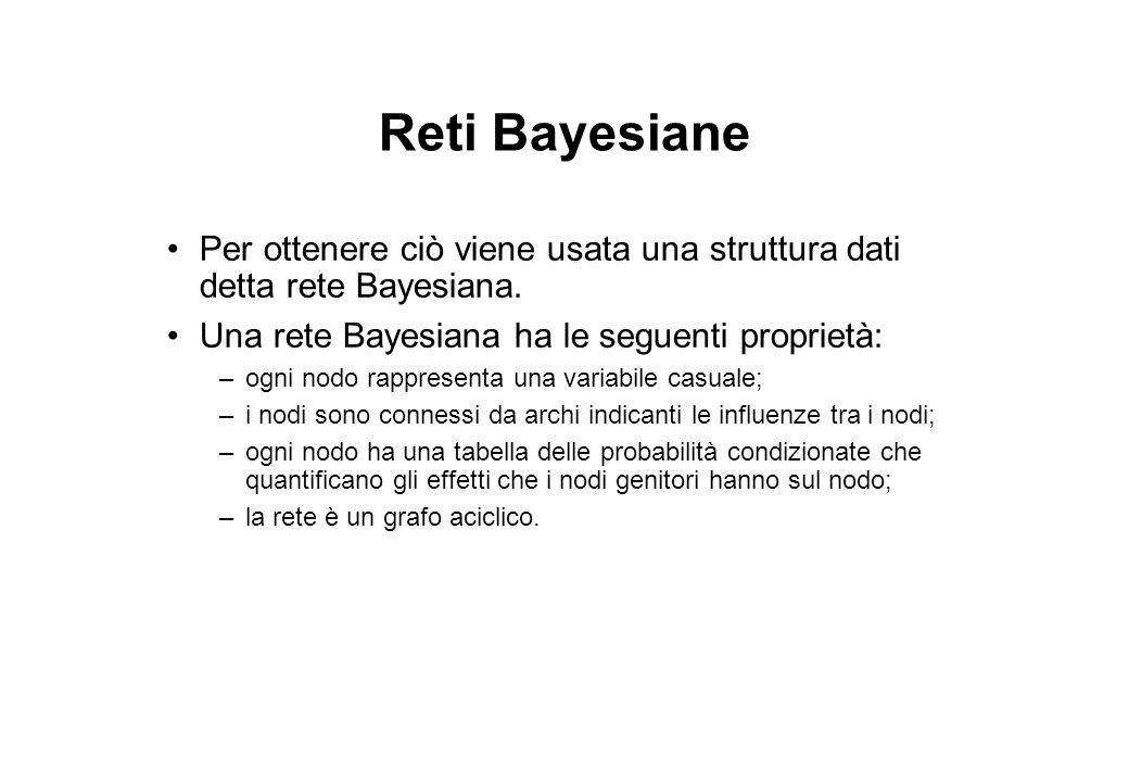 Reti Bayesiane Per ottenere ciò viene usata una struttura dati detta rete Bayesiana. Una rete Bayesiana ha le seguenti proprietà: –ogni nodo rappresen