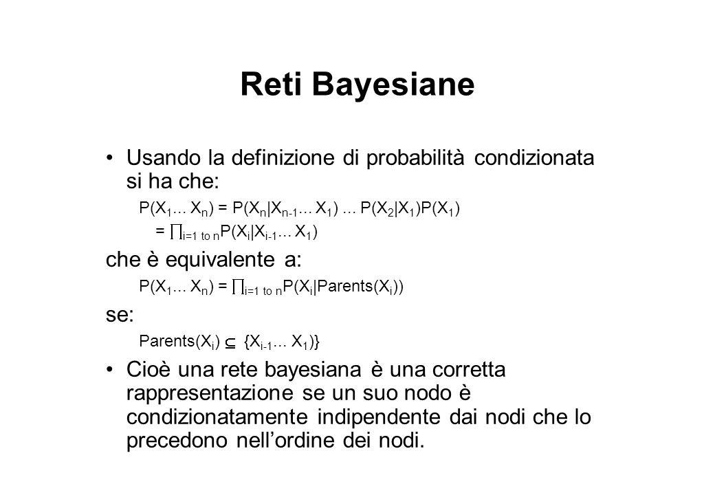 Reti Bayesiane Usando la definizione di probabilità condizionata si ha che: P(X 1... X n ) = P(X n |X n-1... X 1 )... P(X 2 |X 1 )P(X 1 ) =  i=1 to n