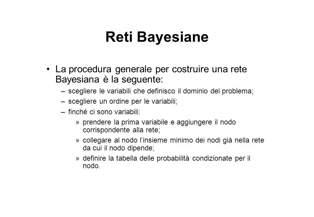 Reti Bayesiane La procedura generale per costruire una rete Bayesiana è la seguente: –scegliere le variabili che definisco il dominio del problema; –s