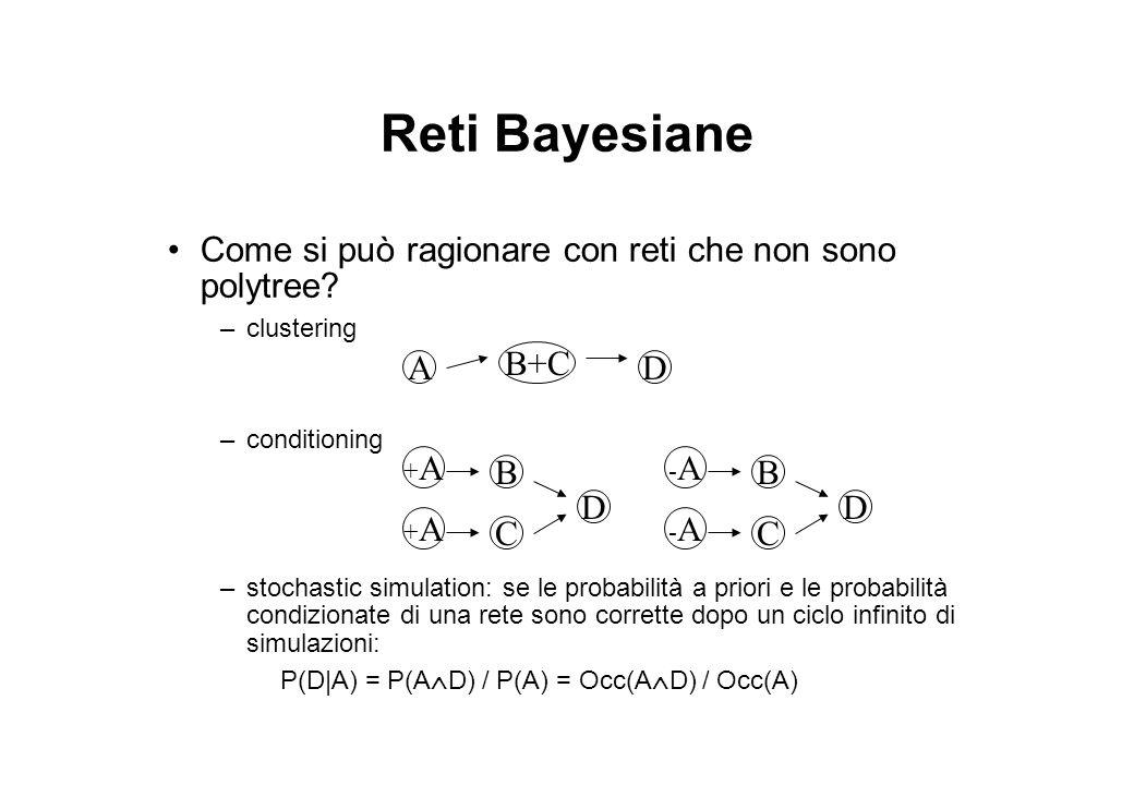 Reti Bayesiane Come si può ragionare con reti che non sono polytree? –clustering –conditioning –stochastic simulation: se le probabilità a priori e le