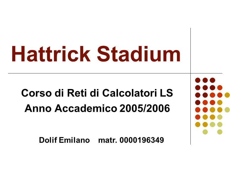 Hattrick Stadium Corso di Reti di Calcolatori LS Anno Accademico 2005/2006 Dolif Emilano matr.