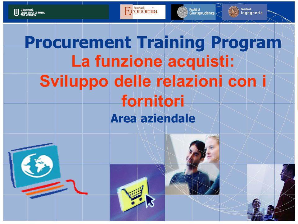 Procurement Training Program La funzione acquisti: Sviluppo delle relazioni con i fornitori Area aziendale