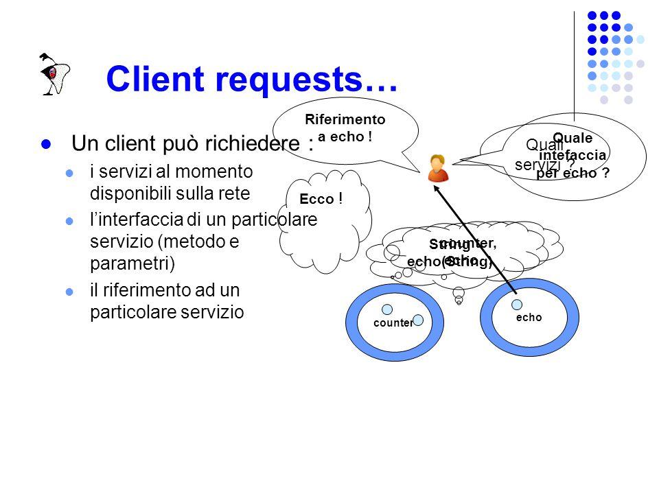 Client In JDICS i client sono applicazioni Java, che per realizzare la propria logica applicativa necessitano di servizi via RMI Un client può conoscere a priori il nome di un servizio (staticamente), oppure può scoprire i servizi disponibili run-time (dinamicamente).