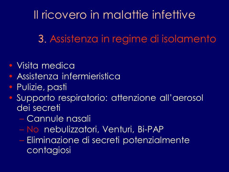 Il ricovero in malattie infettive 3. Assistenza in regime di isolamento Visita medica Assistenza infermieristica Pulizie, pasti Supporto respiratorio: