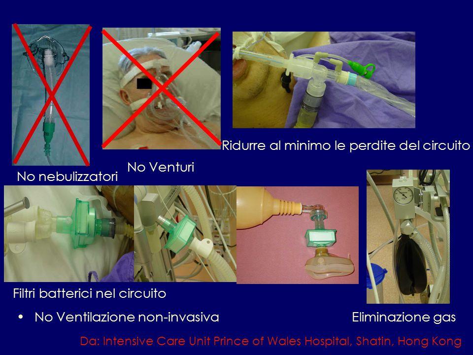 No Ventilazione non-invasiva Da: Intensive Care Unit Prince of Wales Hospital, Shatin, Hong Kong No nebulizzatori No Venturi Ridurre al minimo le perdite del circuito Filtri batterici nel circuito Eliminazione gas