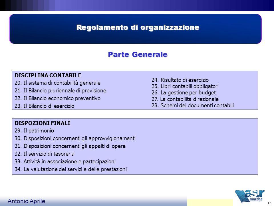 Antonio Aprile 16 Regolamento di organizzazione Parte Generale DISCIPLINA CONTABILE 20.