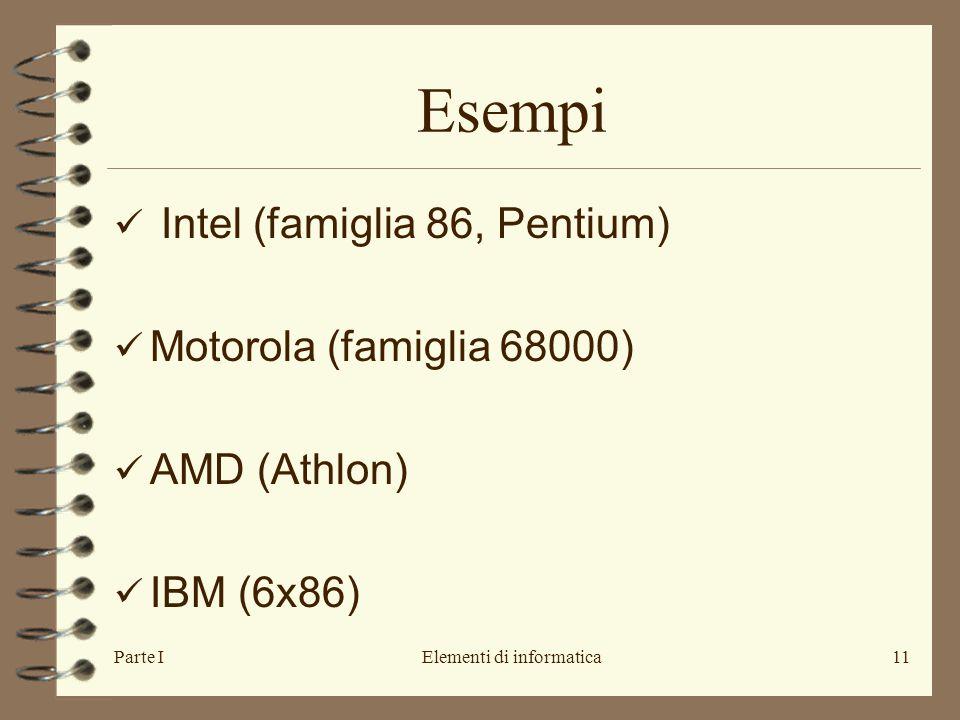 Parte IElementi di informatica11 Esempi Intel (famiglia 86, Pentium) Motorola (famiglia 68000) AMD (Athlon) IBM (6x86)
