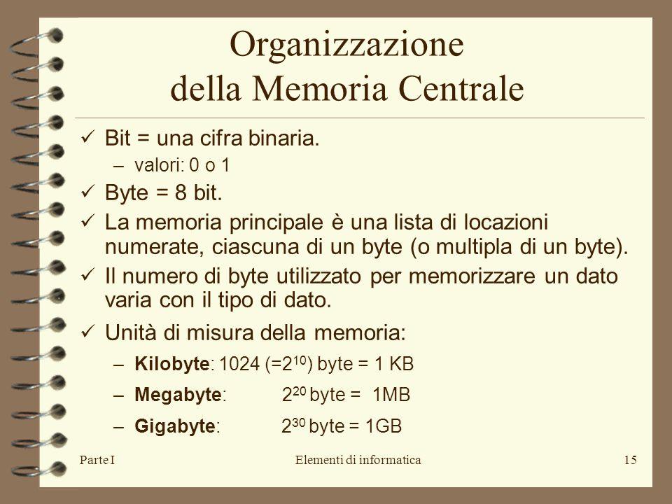 Parte IElementi di informatica15 Organizzazione della Memoria Centrale Bit = una cifra binaria. –valori: 0 o 1 Byte = 8 bit. La memoria principale è u