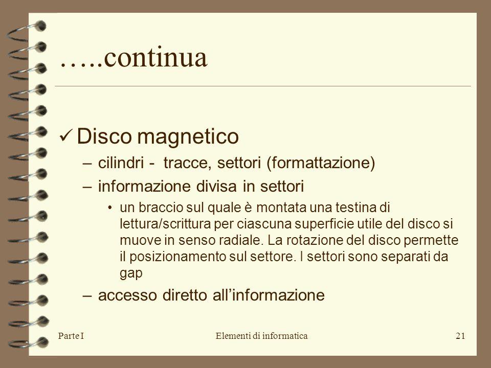 Parte IElementi di informatica21 …..continua Disco magnetico –cilindri - tracce, settori (formattazione) –informazione divisa in settori un braccio su