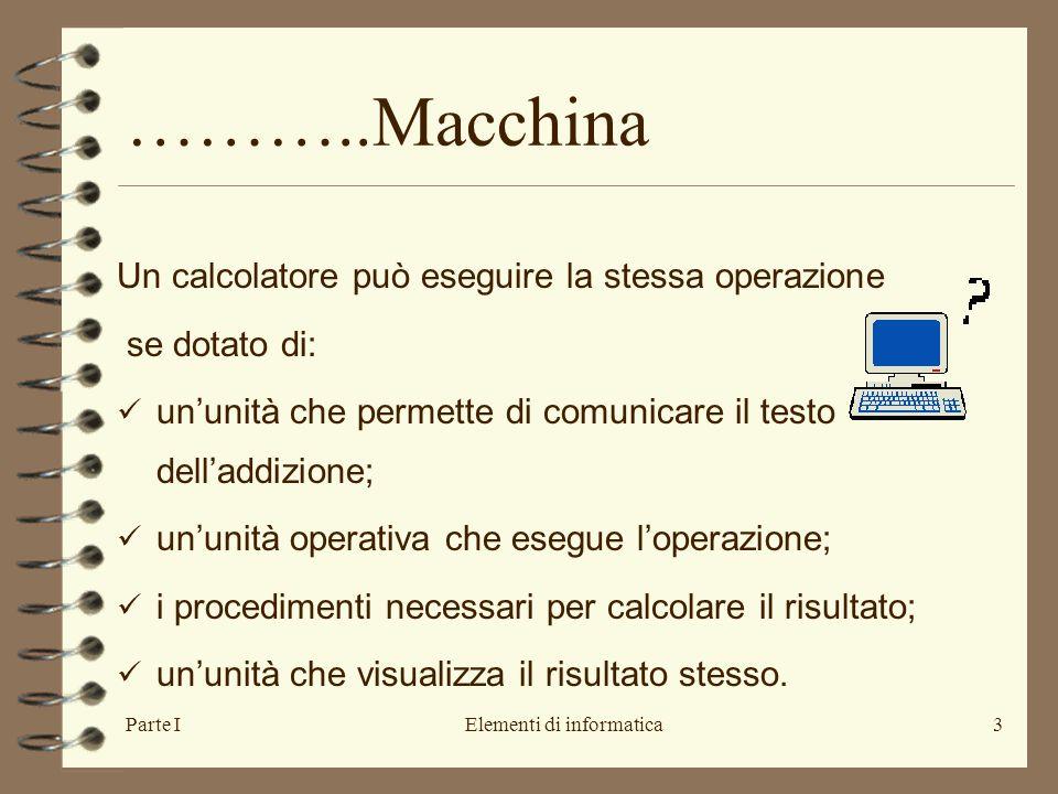 Parte IElementi di informatica3 Un calcolatore può eseguire la stessa operazione se dotato di: un'unità che permette di comunicare il testo dell'addizione; un'unità operativa che esegue l'operazione; i procedimenti necessari per calcolare il risultato; un'unità che visualizza il risultato stesso.