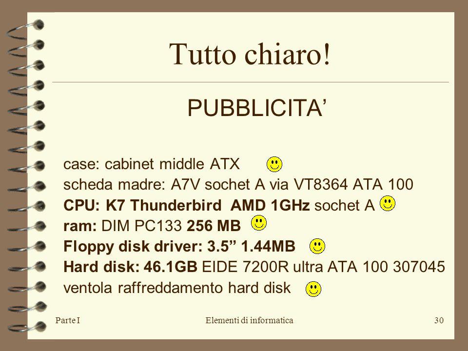 Parte IElementi di informatica30 Tutto chiaro! PUBBLICITA' case: cabinet middle ATX scheda madre: A7V sochet A via VT8364 ATA 100 CPU: K7 Thunderbird