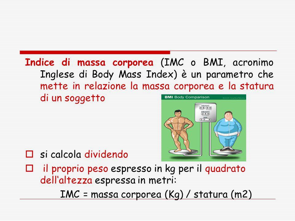 Indice di massa corporea (IMC o BMI, acronimo Inglese di Body Mass Index) è un parametro che mette in relazione la massa corporea e la statura di un s