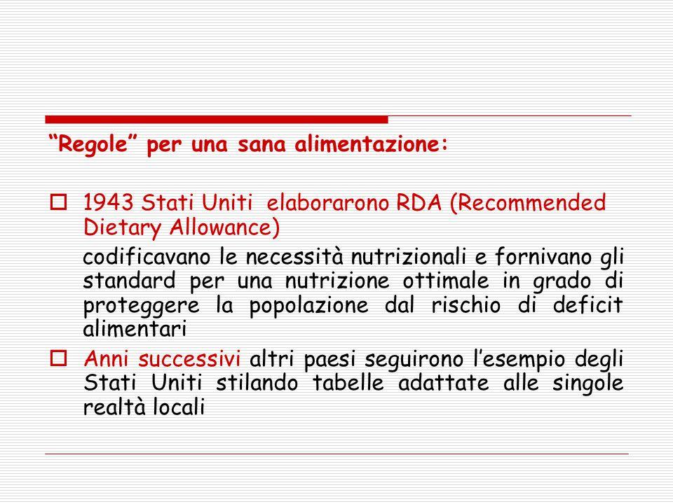 """""""Regole"""" per una sana alimentazione:  1943 Stati Uniti elaborarono RDA (Recommended Dietary Allowance) codificavano le necessità nutrizionali e forni"""