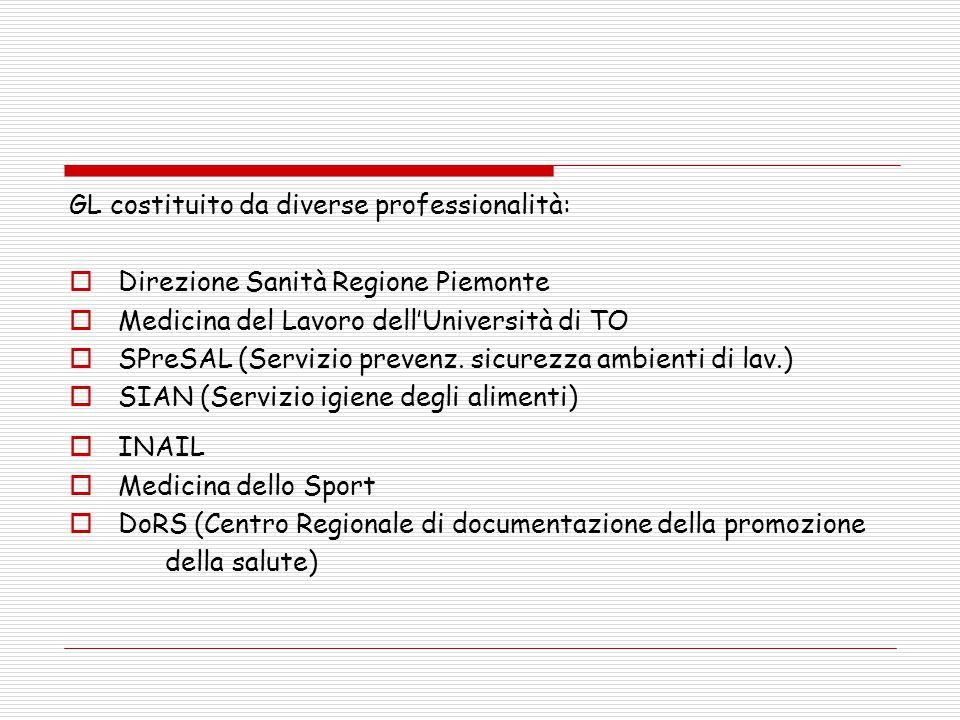 GL costituito da diverse professionalità:  Direzione Sanità Regione Piemonte  Medicina del Lavoro dell'Università di TO  SPreSAL (Servizio prevenz.