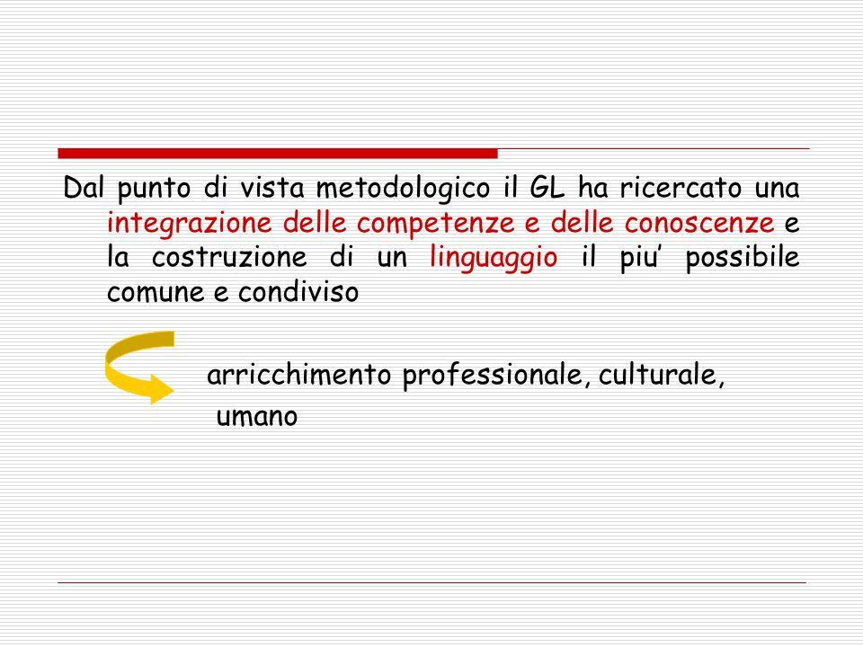 Dal punto di vista metodologico il GL ha ricercato una integrazione delle competenze e delle conoscenze e la costruzione di un linguaggio il piu' poss