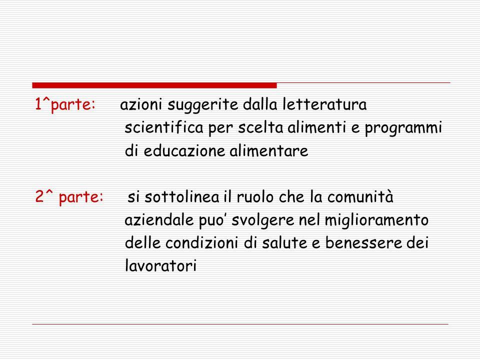 1^parte: azioni suggerite dalla letteratura scientifica per scelta alimenti e programmi di educazione alimentare 2^ parte: si sottolinea il ruolo che