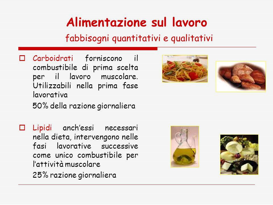 Alimentazione sul lavoro fabbisogni quantitativi e qualitativi  Carboidrati forniscono il combustibile di prima scelta per il lavoro muscolare. Utili