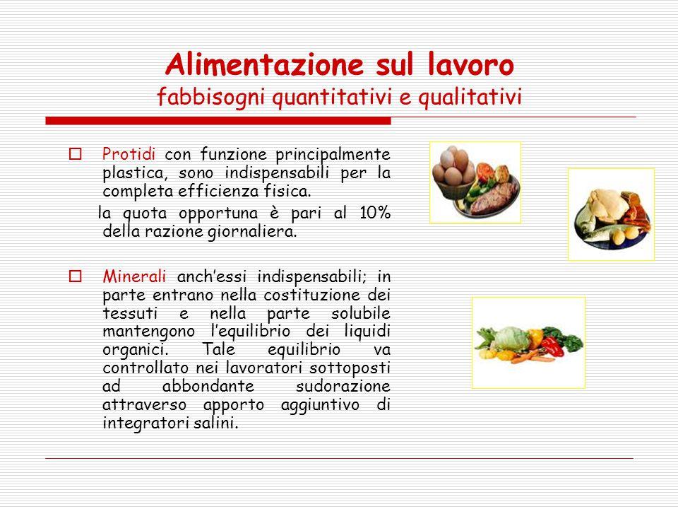 Alimentazione sul lavoro fabbisogni quantitativi e qualitativi  Protidi con funzione principalmente plastica, sono indispensabili per la completa eff