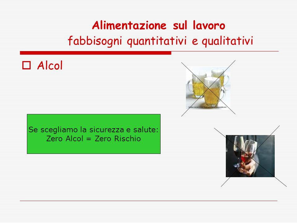 Alimentazione sul lavoro fabbisogni quantitativi e qualitativi  Alcol Se scegliamo la sicurezza e salute: Zero Alcol = Zero Rischio