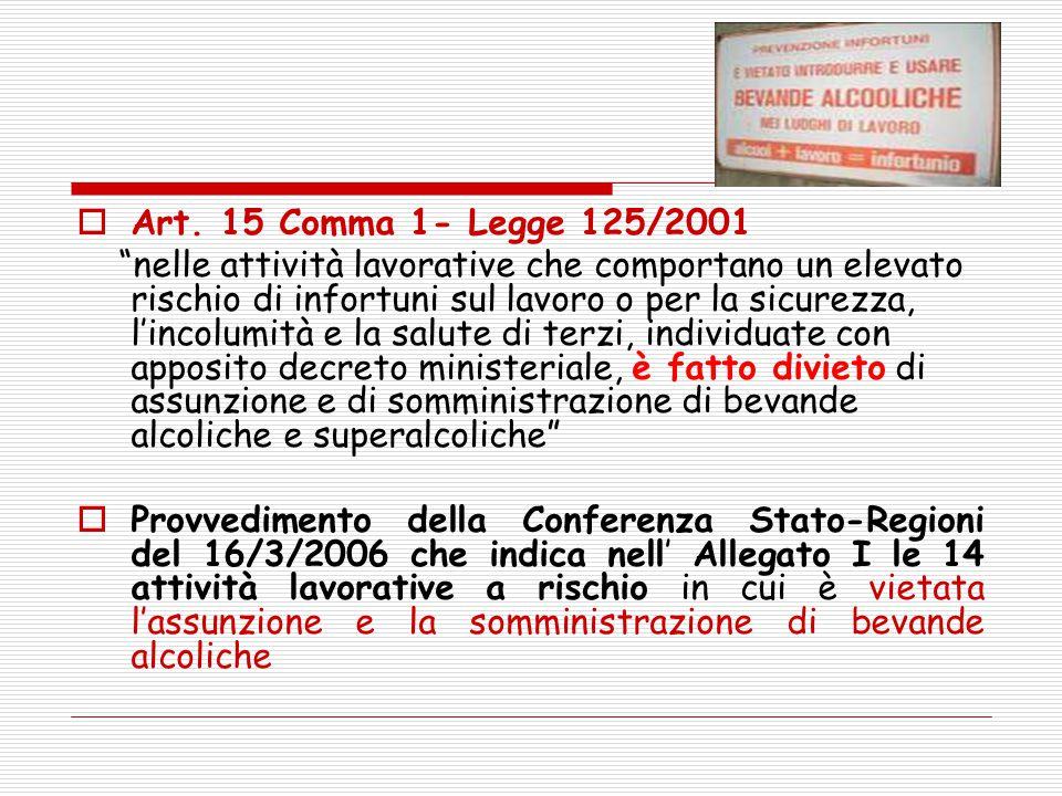 """ Art. 15 Comma 1- Legge 125/2001 """"nelle attività lavorative che comportano un elevato rischio di infortuni sul lavoro o per la sicurezza, l'incolumit"""