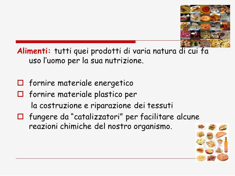 Alimenti: tutti quei prodotti di varia natura di cui fa uso l'uomo per la sua nutrizione.  fornire materiale energetico  fornire materiale plastico