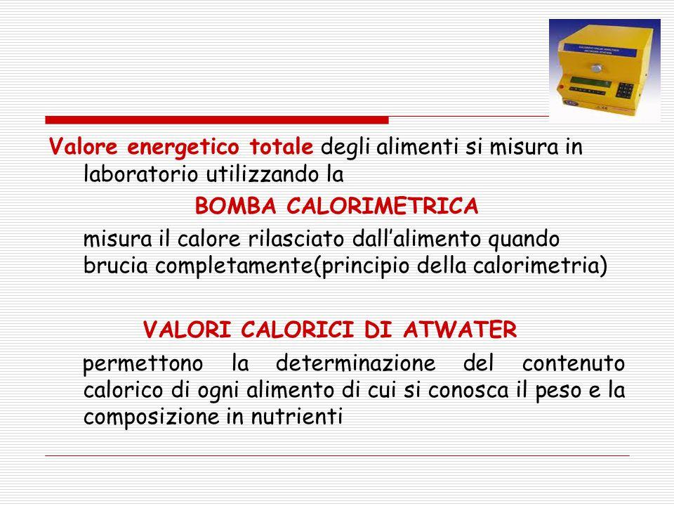 Valore energetico totale degli alimenti si misura in laboratorio utilizzando la BOMBA CALORIMETRICA misura il calore rilasciato dall'alimento quando b