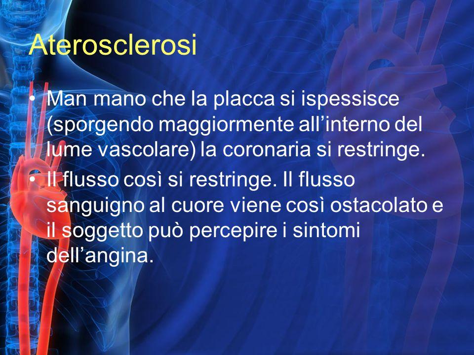 Aterosclerosi Man mano che la placca si ispessisce (sporgendo maggiormente all'interno del lume vascolare) la coronaria si restringe. Il flusso così s